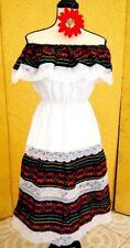 Mexican Dress Red/Multicolor Ruffle Fiesta 5 de Mayo Adelita Folkloric vtg L/XL