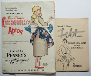 VINTAGE Apron Sewing Pattern Walt Disney CINDERELLA & Butterick Felt advert