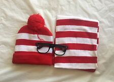 Red And White Stripe Costume Set Hat Scarf Beanie Black Glasses