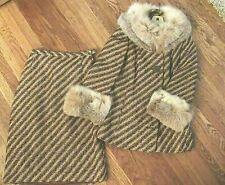 New listing Vintage 60's Skirt & Jacket Suit Incredible Huge Fox Fur Trim ~ Stunning !