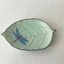Dragonfly Leaf Soap Dish Trinket Tray Jewelry Holder Garden Green Blue Ceramic