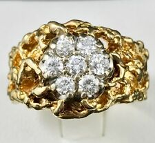 "14k Yellow Gold Vintage ""Nugget"" Diamond Ring with .80ct, 14 Grams! ~ Size 10.75"