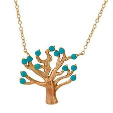 TREE NECKLACE PENDANT W/ TURQUOISE BEADS/ 14K ROSE GOLD OVER  STERLING SILVER