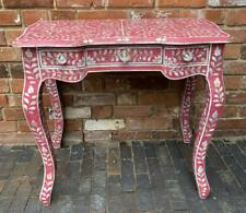 More details for dressing table / desk / console - pink inlaid hand carved mother of pearl