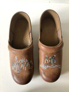 DANSKO Womens Cognac Twin Little Dreams Big Adventures Leather Clogs - Size 38