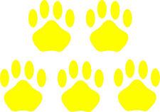 5 Stück Pfoten gelb Samt Flock Applikation zum aufbügeln Flicken Aufnäher Patch