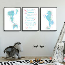 3 Pcs Unicorn Mermaid Canvas Printing Quote Wall Poster Baby Kids Bedroom Decor