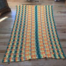 Vintage Crochet Granny Afghan Blanket Throw 46x69 Green Yellow Orange Gray