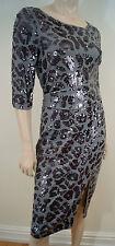 BAUKJEN Khaki Jersey Gunmetal Leopard Sequin Pattern Evening Dress UK8 BNWT
