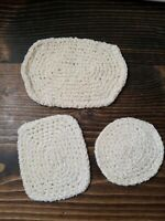 Miniature Dollhouse Hand Crochet Rugs Kitchen Bathroom Cream Off White