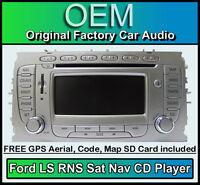 Ford Mondeo Sat Nav car stereo, Ford LS RNS CD player radio + code & Map SD Card