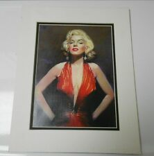 11 x 14 MARILYN MONROE in Red Dress Matted Photo Painting VF