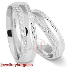MATCHING ARGENTIUM SILVER 6MM WEDDING RING SET FREE ENGRAVING  (SIZE  I - Z+5 )