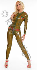 Wicked OLIVE Latex Rubber Uniform Style Catsuit LARGE