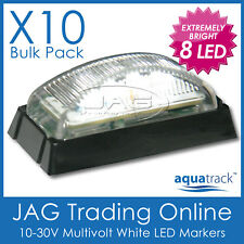 10x 8-LED WHITE MARKER LIGHTS/CLEARANCE TRAILER LAMPS B