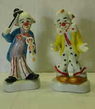 "Homco Glass Clown Lot Of 2 Vintage. 6"" Tall"
