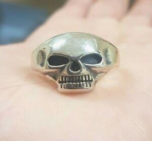 Skull Ring, 925 Solid Sterling Silver, Punk Biker, Mens Skull Ring