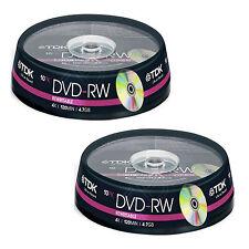 20 TDK DVD-RW 4.7 GB (4x) 120Min DVD RISCRIVIBILI t19525 spindle/BOX per dolci
