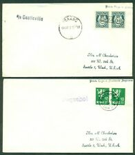 NORWAY 1953, Paquebot cancels on 2 covers to U.S., both different, VF