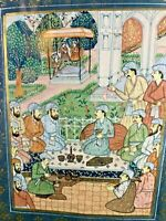 "Mughal Painting on Silk ~ Professionally Matted w/linen & Framed  20"" x 17.5"""