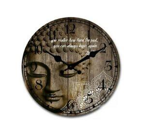 Large White Mandala Pattern Buddha Wooden Wall Clock 58CM