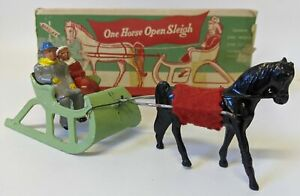Vintage 1947 BARCLAY #510 Lead Christmas ONE HORSE OPEN SLEIGH in Box