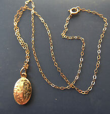 """anklet or small child's necklace w/pretty pendant New listing Delicate 12"""" solid 10K y gold"""