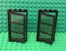 Lego X2 Trans-Black Glass Door 1x4x6 W/ 3 Panes And Stud Handle And Black Frame