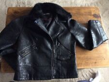 Steve Madden Faux Black Leather Jacket With Faux Fur Collar size Large
