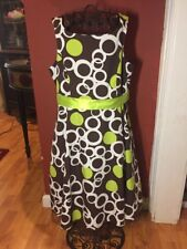 My Michelle Girls Sz. 12 Brown Lime Spring Summer Dress
