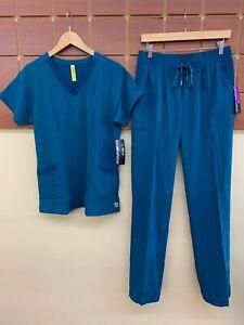 NEW Wink Aero Caribbean Blue Solid Scrub Set With Medium Top & Medium Tall Pants