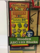 Melissa & Doug Solid Wooden Blocks ABC/123 Vintage With Carrying Straps Rare