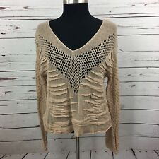 Free People Womens Vneck Sweater Lightweight Sheer Knit Beige Size Medium Boho
