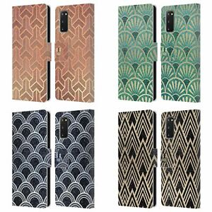 HEAD CASE TEXTURED ART DECO PATTERNS LEATHER BOOK CASE & WALLPAPER FOR SAMSUNG 1