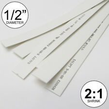 """1/2"""" ID White Heat Shrink Tube 2:1 ratio 0.5"""" (5x24""""= 10 ft) inch/feet/to 13mm"""