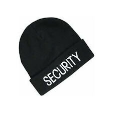 Security Guard Officer Black Acrylic Knit Warm Skull Watch Cap Beanie Patrol Hat