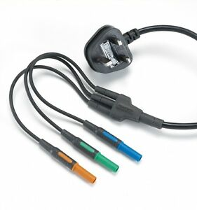 Kewtech KAMP12UK Mains Lead with 3x 4mm Connectors for KT64 & KT65