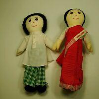 """Vintage Bangladesh  Cloth Boy and Girl Doll  14"""""""