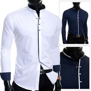 Mens Grandad Shirt Elegant Long Sleeve Smart Casual Collar Metal Snaps Cotton