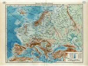 1920s EUROPE SURFACE SHAPES MOUNTAINS Antique Map