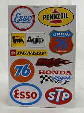 A4 Sheet Vintage Oil/Petrol Stickers/Decals/Sponsors Racing/Motorsport Car/Bikes