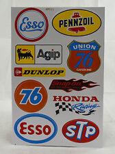 A4 Sheet Vintage Oil/Petrol Stickers/Decals/Sponsors Racing/Motorsport Car/Bikes