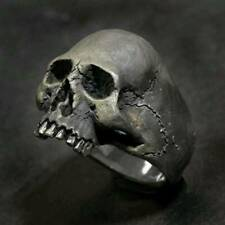 Black Horror Skull Ring Men's Punk Vintage Skull Ring Biker Jewelry Halloween