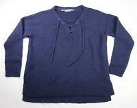 Athleta Blue Knit Long Sleeve Lace Up V Neck Pullover Sweater Size Small
