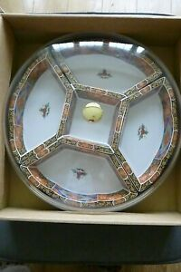 Vintage Japanese made Porcelain Revolving Lazy Susan With Lid - VGC - Boxed