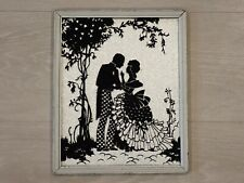 """Vintage Silver Background Courting Silhouette Picture 8 5/8"""" x 10 3/4"""""""