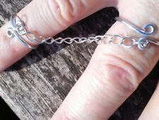 Declaración de doble anillo de conexión por Cadena Anillo del dedo del pie Midi Anillo Cadena Anillo boho