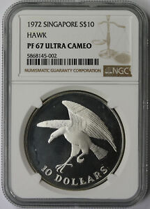 1972 Singapore Hawk Silver $10 Proof PF 67 Ultra Cameo NGC