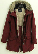 Zara Hooded Parka Coat Detachable Faux Fur Hood And Quilted Lining Womens M