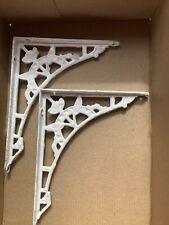 Pair Small Victorian Metal Shelf Brackets Honeycombed  Wall Support White